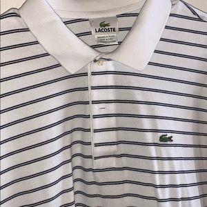 Lacoste Shirts - Lacoste polo white/black stripe size 7/XL